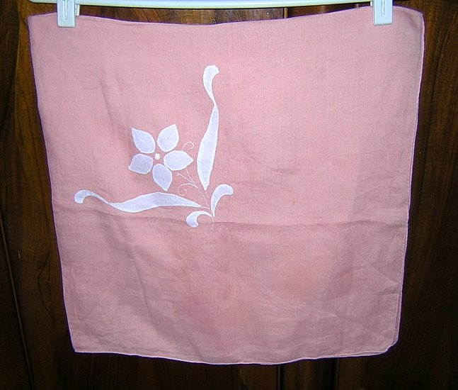Handmade pink linen tablecloth applique embroidery vintage hc1772