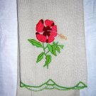 Embroidered hand guest towel satin stitch crewel-like vintage linens  hc1779