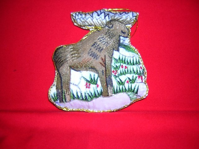 Embroidered moose Christmas tree decoration 1994 stuffed satin Eaton hc1782