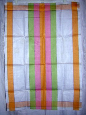 Jumbo striped linen towel sherbet colors unused vintage hc1786