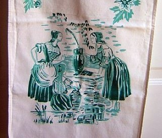 Heavy cotton twill towel peasant maids at the well vintage hc1793