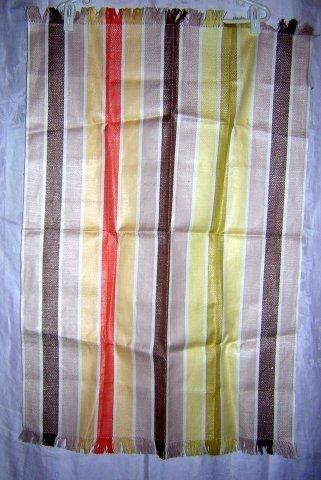Large woven striped towel self fringe unused vintage hc1810