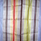 Large woven striped towel self fringe unused vintage hc1810