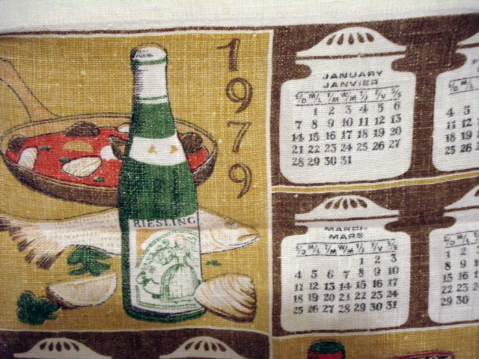 1979 Calendar tea towel linen vintage wine and delicacies hc1815