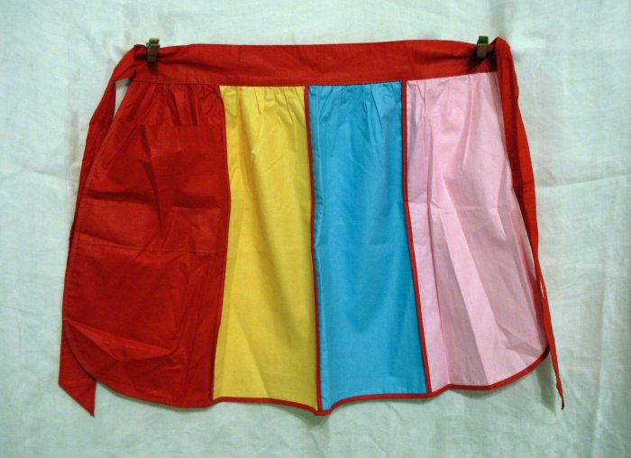 Party colors half apron piping unused cotton vintage hc1818