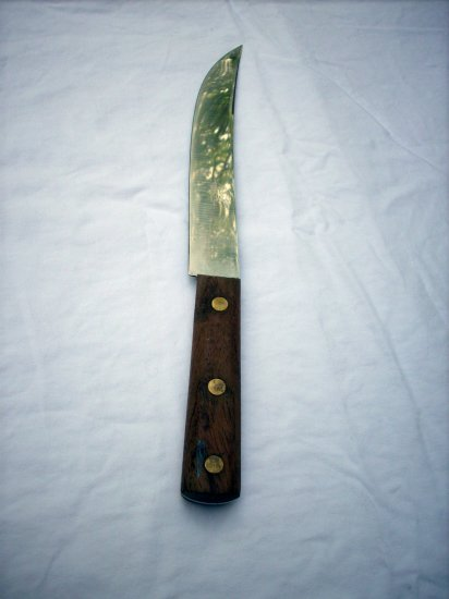 Premier Life Time stainless butcher or cook's knife wooden handle France vintage cutlery hc1820