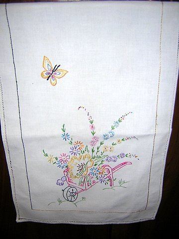 Embroidered dresser scarf table runner flower barrow hc1822