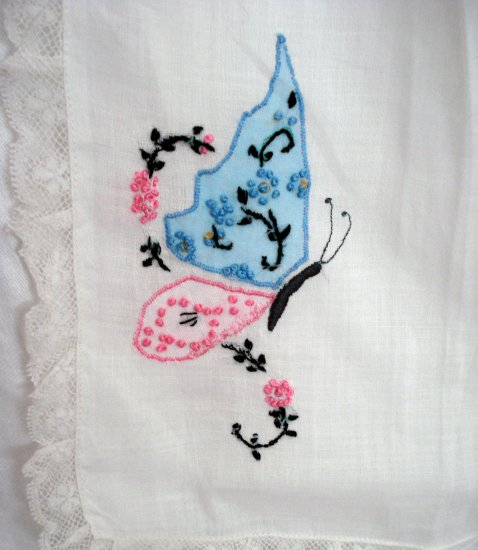 Antique hostess apron handkerchief linen embroidered butterflies hc1857