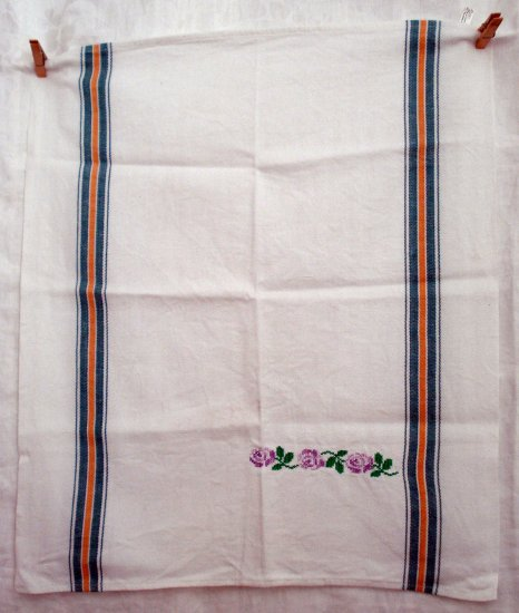 Heavy cotton kitchen hand towel cross-stitched woven stripe Italy vintage hc1858
