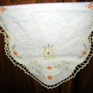 Antique embroidered linen table mat runner French knots crochet edge hc1869