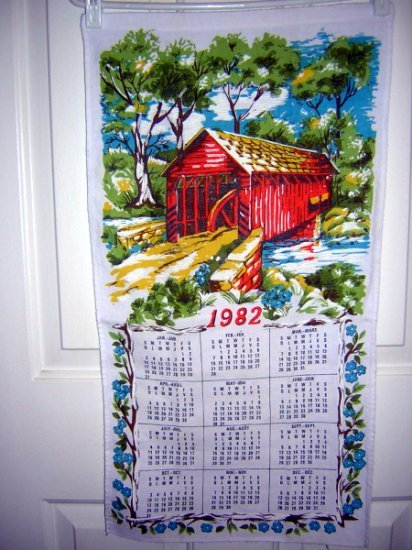 1982 calendar towel with covered bridge craft perfect hc1873