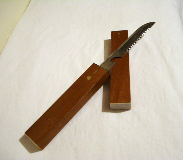 All purpose knife in wooden travel case stainless blade vintage hc1899