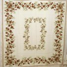 Rayon floral tablecloth Queen Anne's lace brown flowers vintage linens hc1923