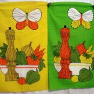 Pair 1960s cotton towels pepper mill veggies butterfly vintage hc1938