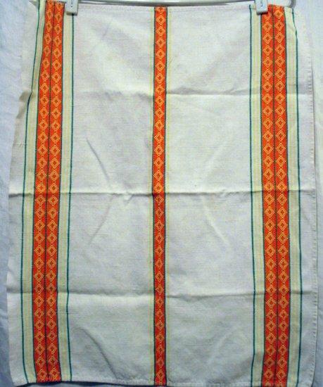 Vintage cotton towel woven orange stripes vintage hc1957
