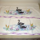 Pair embroidered pillowcases black swans crochet edge vintage hc1971