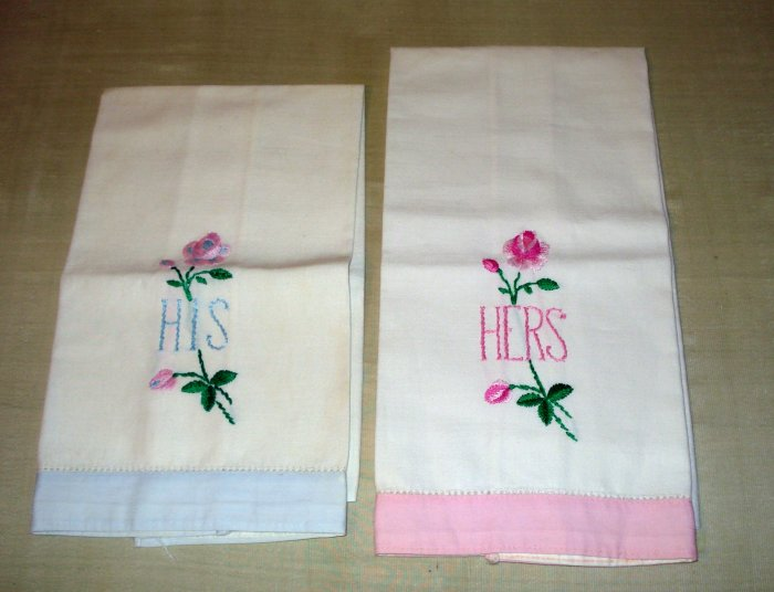 His and Hers guest or hand towels embroidered vintage hc1977