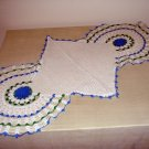 Antique long doily for buffet or long table Irish crochet roses hc1983
