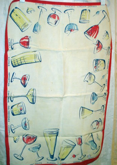 1950s Vintage linen towel cocktails not perfect hc1994