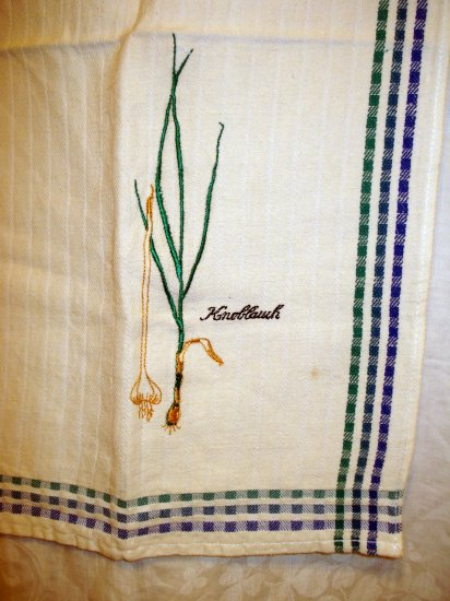 F Raling woven cotton linen towel embroidered Knoblauck vintage hc2000