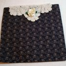 Handcrafted reusable gift vanity bag purple print doily white ribbon rose enviro solutions hc2014