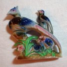 Pheasants and flowers antique flat figurine Japanese porcelain hc2015
