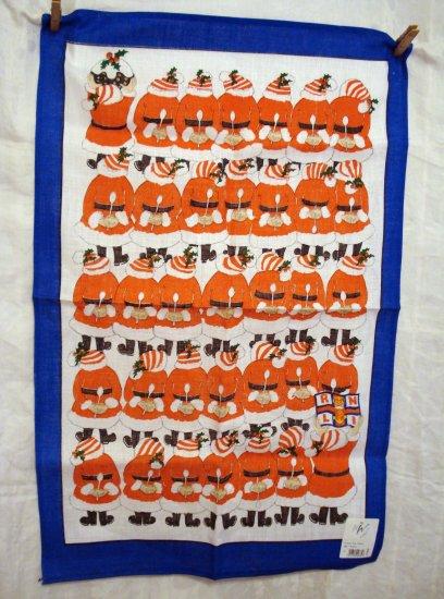 RNLI Lifeboats souvenir Christmas Santas towel linen new old stock vintage linens hc2024