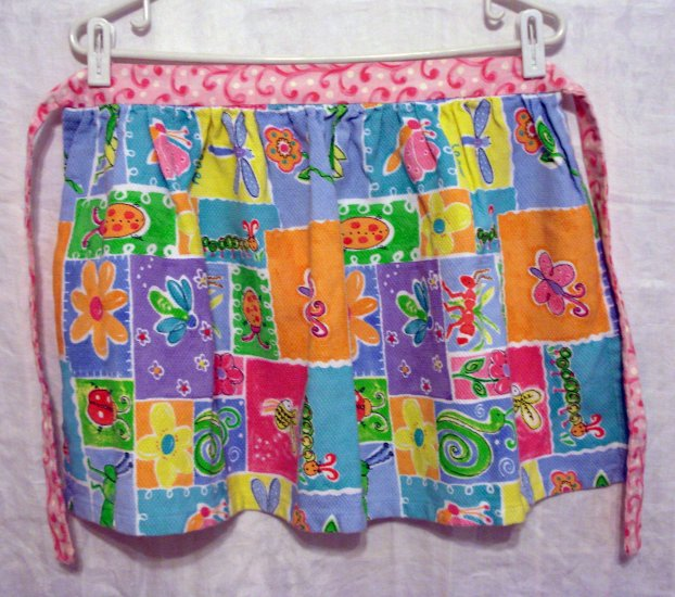 2 Matching vintage half aprons piquet fabric bugs flowers hc2028