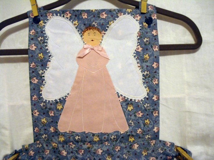 Angel applique bib apron 31 inch skirt pocket handmade unused vintage hc2029