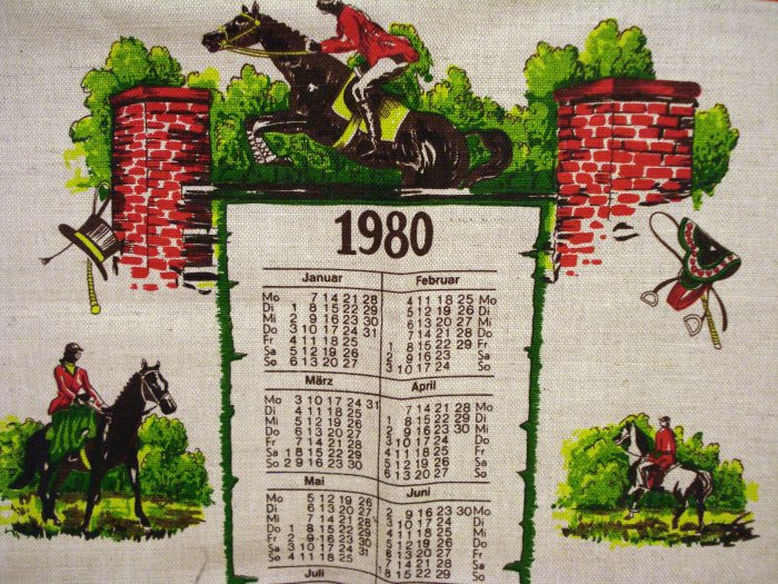 1980 Steeple Chase calendar towel linen cotton unused vintage hc2033