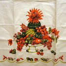 Fine Irish linen tea towel fruit compote unused vintage hc2036