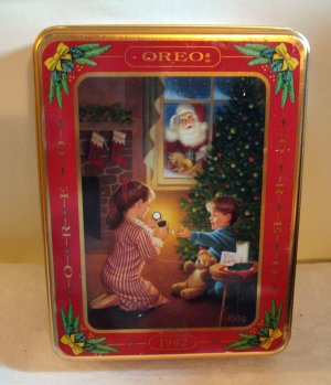 Oreo cookies Christmas tin 1992 excellent condition hc2037