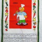 1991 calendar towel by Luis Ce tasting fat chef and vegetables unused hc2054