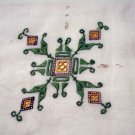 Antique Hardanger embroidered linen tablecloth threadwork details hc2087