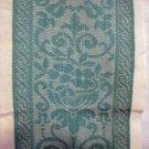 Turquoise jacquard on white linen towel elegant vintage linens hc2097