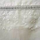 Shamrock whitework embroidery threadwork linen pillow cover or tablecloth antique  hc2099