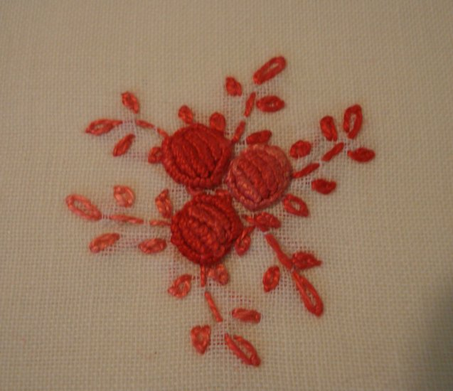 Set 6 each embroidered linen placemats napkins red pink vintage linens hc2103