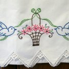 Bluebirds flower basket embroidered pillowcase hand made lace vintage linens hc2111