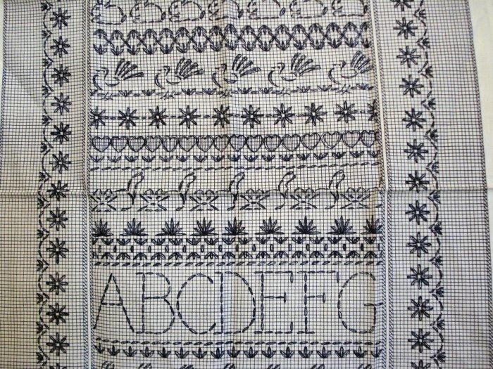 Sampler printed cotton tea towel Sanderson Kemp unused vintage linens hc2114