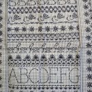 Sampler printed cotton tea towel Sanderson Kemp unused vintage linens hc2114