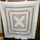 Victorian thread work white linen tablecloth threadwork antique linens hc2113