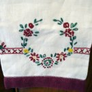 Maroon embroidered linen hand guest towel vintage linens hc2125