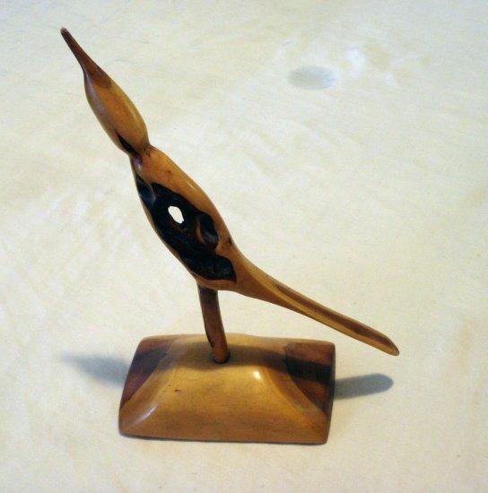 Natural wood knot sculpture bird on base vintage wood carving  hc2153