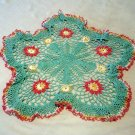Lacy crocheted colored doily salmon and sage vintage needlework hc2172