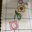 Long embroidered linen dresser scarf runner crocheted edge windowpane vintage linens hc2180