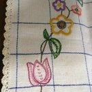 Long embroidered linen dresser scarf runner crocheted edge windowpane vintage linens hc2180