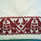 Redwork embroidered cotton tablecloth lovebirds flowers antique linens hc2186
