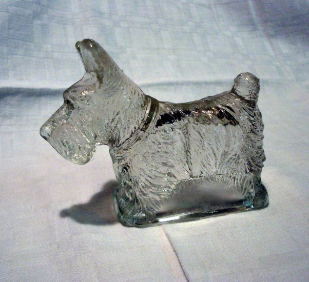 Vintage glass Scottie dog candy holder empty vintage animal collectibles hc2198