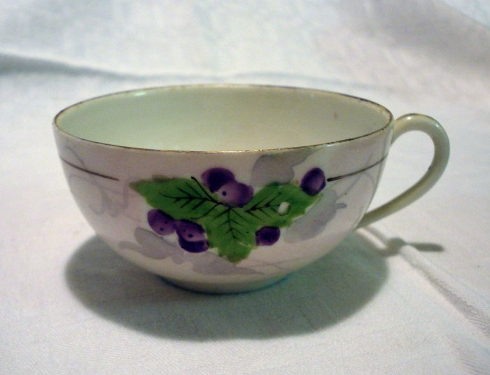 2 Paper thin Nippon cups hand painted grapes and leaves motif antique china hc2202