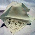 Single linen napkin filet lace insert monogrammed antique linens hc2204